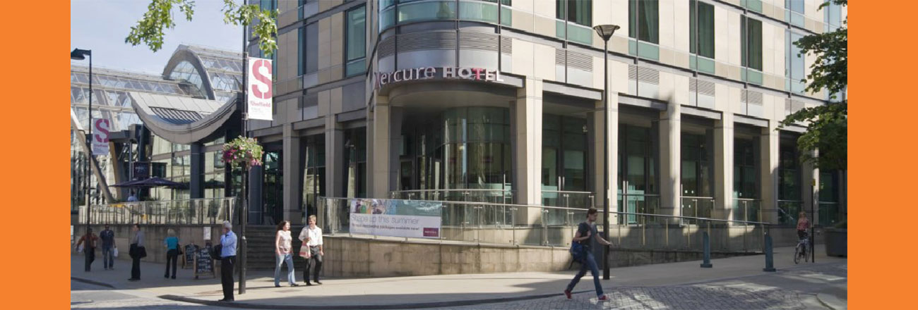slider image showing people walking past Mercure Hotel in Sheffield, Lane Walker Chartered Surveyors and Commercial Property Agents